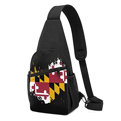 Wearibear Banderines de Maryland, bolsa de cuerda, multiusos, bandolera, mochila de hombro, antirrobo, bolsa frontal, bolsa para el pecho, monederos, organizador, mochila de viaje para hombres y mujeres al aire libre