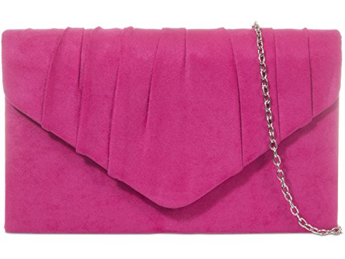 fi9 , Damen Clutch schwarz schwarz Medium, rosa - Fuchsia pink - Größe: Medium