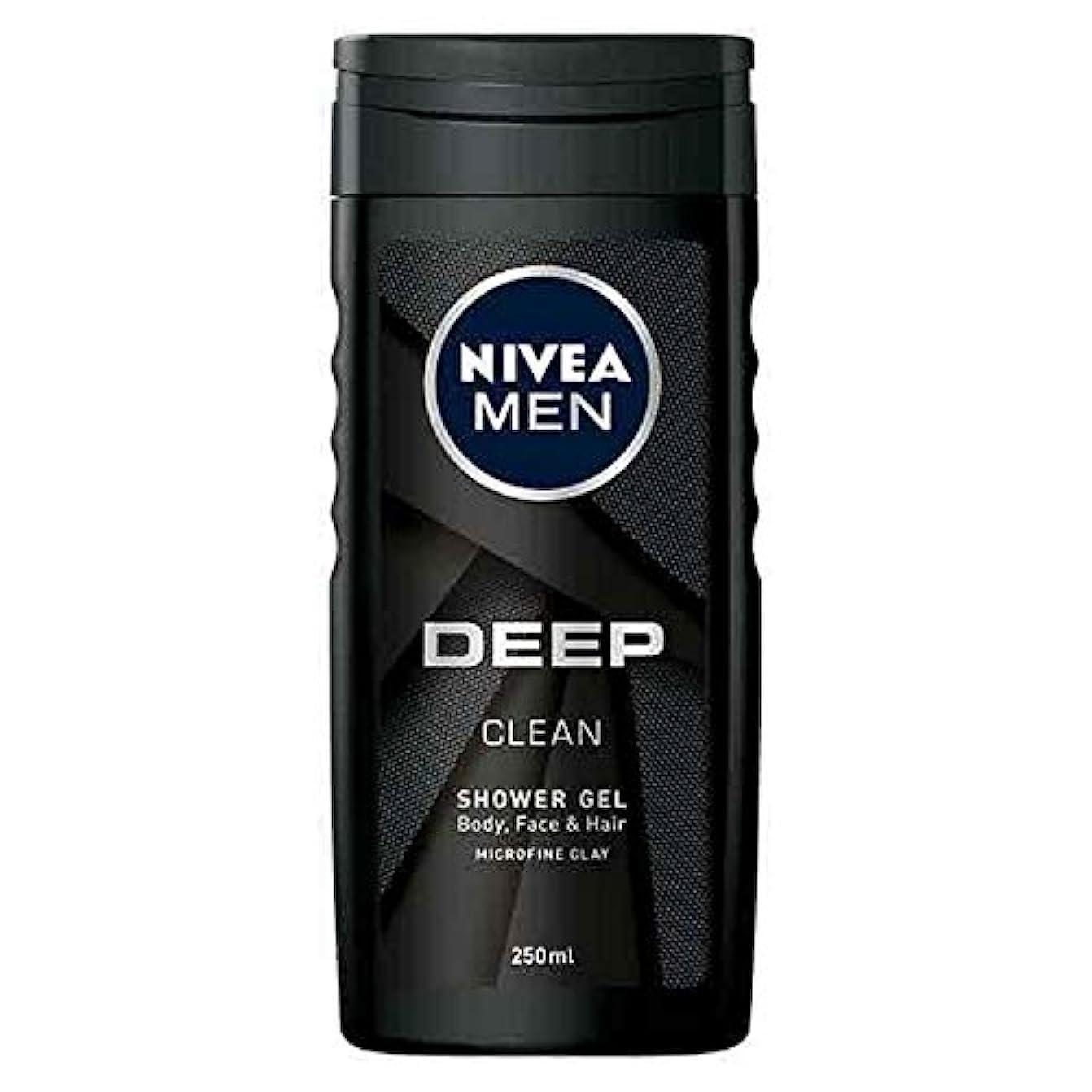 理由おいしい剪断[Nivea ] ニベア男性の深いきれいなお風呂、顔や髪のシャワージェル250ミリリットル - NIVEA Men Deep Clean Bath, Face and Hair Shower Gel 250ml [並行輸入品]