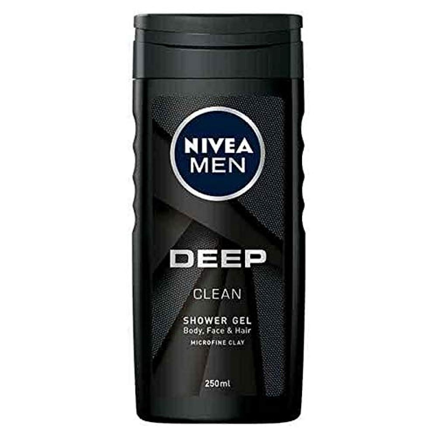 キッチン代表あまりにも[Nivea ] ニベア男性の深いきれいなお風呂、顔や髪のシャワージェル250ミリリットル - NIVEA Men Deep Clean Bath, Face and Hair Shower Gel 250ml [並行輸入品]