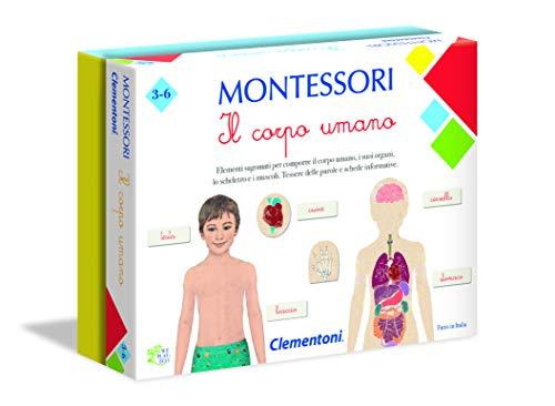 Clementoni - 16103 - Montessori - Il Corpo Umano - Made in Italy, gioco Montessori 3 anni, gioco educativo metodo montessoriano (Versione in Italiano)