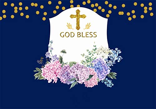 AOFOTO 10x7ft God Bless Cross Backdrop Blue Boy Baptism Decoration First Holy Communion Background for Photography Flowers Baby Christening Party Events Decoration Photo Studio Props Vinyl