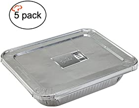 Tiger Chef 5-Pack Durable Aluminum Foil Steam Table Pans Full Size with Lids, Disposable 21 x 13 inches