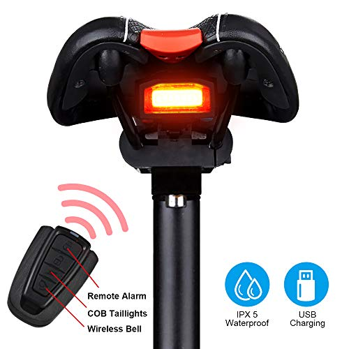 G Keni Bike Tail Light Rechargeable, Anti-Theft Alarm, Warning Electric Horn, Bike Finder/Tracker with Remote, IPX6 Waterproof Electric Mountain Bike Accessories