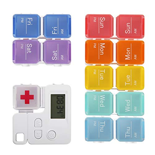 FRIFLY 7 Day Pill Box with Alarm Reminder Weekly...