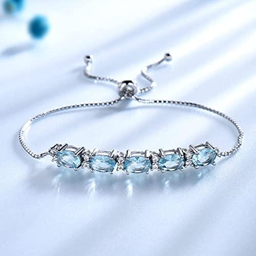 yuge Natural cielo azul topacio real 925 plata esterlina joyería aguamarina encanto pulseras y pulseras alta joyería para las mujeres Naturalbluetopaz
