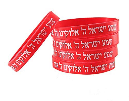 5 Bracelets ROUGE CHEMA ISRAËL – Kabbale juive hébraïque bandes caoutchouc