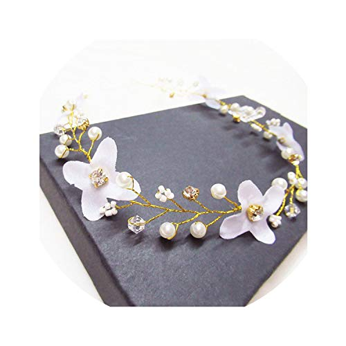 Fashion Wedding Headdress For Bride Handmade Wedding Crown Floral Pearl Crystal Hair Accessories Hairpin Ornament,I-2-White-38cm
