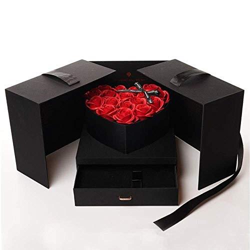Yaowo 2021 Nuevo Collar De Lápiz Labial Caja De Regalo De Flor De Jabón Rosa Regalo del Día De La Madre (Negro)