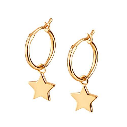 Brandlinger ® Atelier Ohrringe mit Stern Anhänger aus vergoldetem 925 Sterling Silber für Frauen und Mädchen. Durchmesser der Creole 12 mm