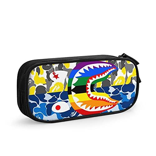 Shark Tiger Shark - Estuche para bolígrafos de gran capacidad, diseño de tiburón, color azul y amarillo