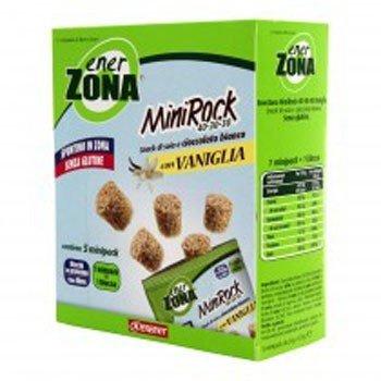 ENERZONA - MINIROCK 40-30-30 CON VANIGLIA - 1 CONFEZIONE DA 5 MINIPACK DA 24 g. Snack di soia e cioccolato bianco con vaniglia, ricco in proteine e fibre. Senza glutine. 1 minipack = 1 blocco