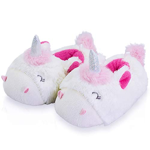 Kid/Girl's Fleece Non-Skid Cozy Soft Unicorn Slippers,Warm&Cute 8-9 US Unicorn