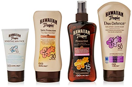 Hawaiian Tropic PACK Ultra Protección - Kit con Aceite Seco Bronceador Spray SPF 15 + Crema Solar Ultra Radiance SPF 30 + Loción Solar Piel Sensible SPF 50 + Crema Protectora DUO Defence SPF 50