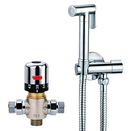 HYGRAD® Bidet Shattaf Douche Spray Multi Use Chrome Hygienic Toilet Shower Thermostatic Mixer Valve Handheld Muslim Bidet (Bidet Kit with Thermostatic)