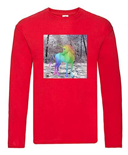 Camiseta de manga larga – Unicornio Fabelwesen multicolor cuentos – Camiseta de manga larga unisex para niños – Niño y niña rojo 104 cm