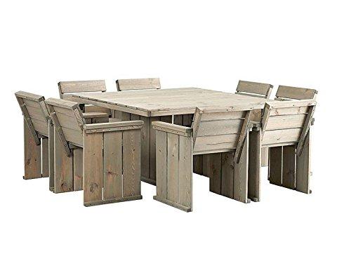 MaximaVida gartenmöbel Set in Bauholz Optik, Gartentisch 118 cm x 118 cm + 8 Gartenstühle