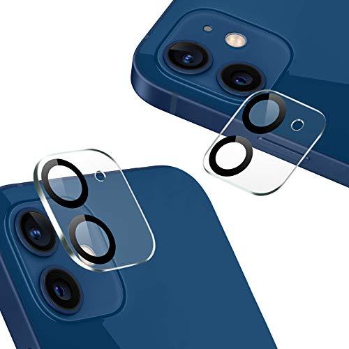 『2020秋改良モデル』AUNEOS iPhone 12 カメラフィルム 2眼レンズ黒縁取り 露出オーバー防止 日本旭硝子製 硬度9H キズ防止 耐衝撃 高透明度 防滴 防塵 極薄 タピオカレンズ カメラ全体保護 (iPhone 12,黒縁取り2枚セット)