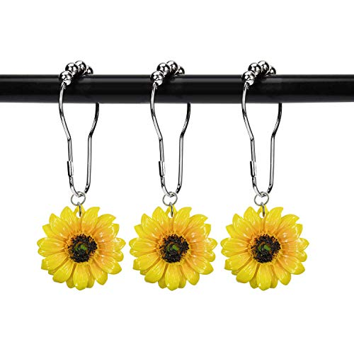 ZILucky Set of 12 Sunflower Shower Curtain Hooks, Stainless Steel Rings with Roller Balls, Spring Rustic Farmhouse Plant Garden Theme, Home Bathroom Decor Accessories (Sunflower)