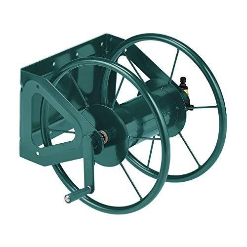 Relaxdays Schlauchtrommel, Stahl, für 60 m Schlauch, 3/4'' Anschlüsse, Wandschlauchhalter HBT: 42 x 53 x 46 cm, grün