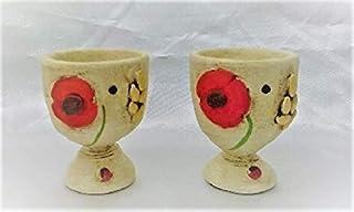Le Ceramiche Del Re, Portauovo Ceramica, Set 2 Porta Uovo Alla Coque Dipinto A mano con Papaveri Rosso