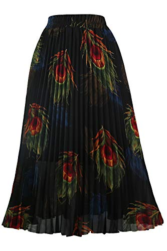 GOOBGS Women's Pleated A-Line High Waist Swing Flare Midi Skirt Peacock Feather Large/X-Large
