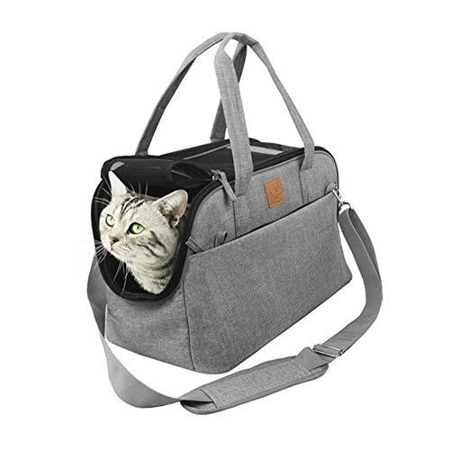 3°Amy Mochila para mascotas Portátil perro transportistas transpirable bolsa for perros aerolínea Aprobado portador de asiento del coche del gato del perro del portador bolsa de asas del perrito Negro 🔥