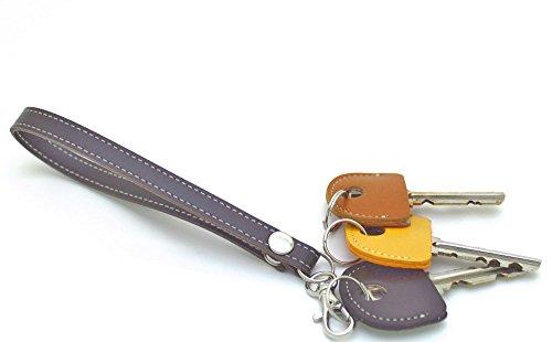 HERBE レザー ストラップ ダークブラウン  1個 ・ キーカバー 3個 セット 牛革  ハンドストラップ キーキャップ 鍵の識別 鍵の番号 NO. 隠しに