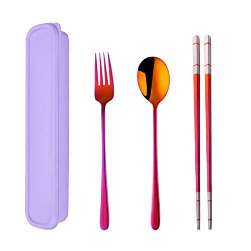 Do Buy 3 PCS Outdoor Flatware Set Fork Spoon Chopsticks/Travel Flatware Set with a Case