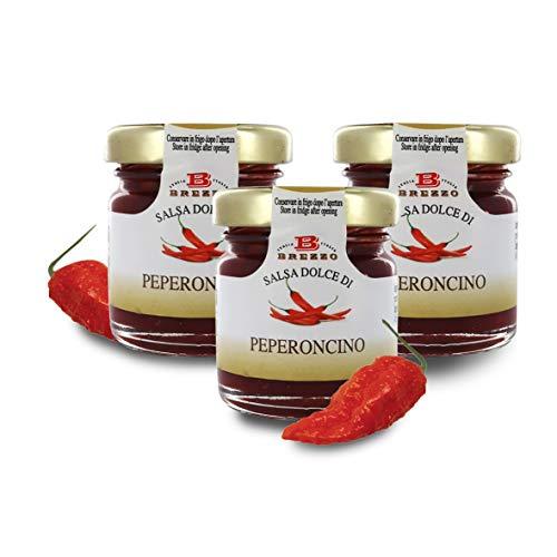 Salsa Dolce al Peperoncino, Confettura di Peperoncini per Formaggi, 40 Grammi (Confezione da 3 Pezzi)