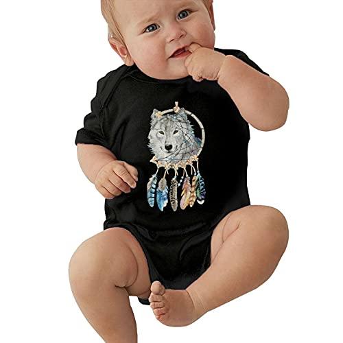 Inaayayi Mono de bebé simple negro atrapasueños y lobo arte de medianoche póster bebé mono unisex bebés camisetas