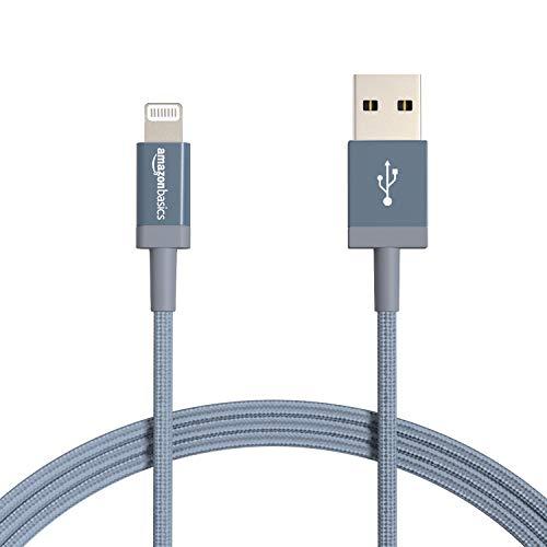 Amazon Basics - Cable Lightning a USB-A de nailon trenzado, cargador certificado por MFi, color gris oscuro, 1,8 m