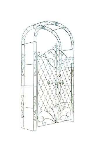 CLP Eisen Rosenbogen Melissa mit Tor/Tür, Doppeltor Höhe 150 cm, Maße gesamt: Breite 120 cm, Höhe 220 cm, Tiefe 40 cm, Farbe:antik-grün