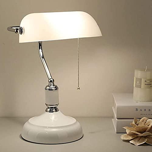 SpiceRack Accesorios para lámpara de Mesa, lámpara de banquero Blanca Retro con Interruptor, lámpara de Mesa de Noche de Metal, lámpara de Oficina Vintage con Pantalla de Vidrio, lámpara de