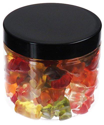 Pot de PET 200 ml transparent, avec couvercle en plastique, noir, 30 pièces
