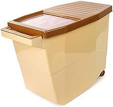 Nfudishpu Storage Box Kitchen Grain Storage Container Rice Nfudishpu Storage Box 10/15kg Plastic Push-Pull Cover Pulley De...