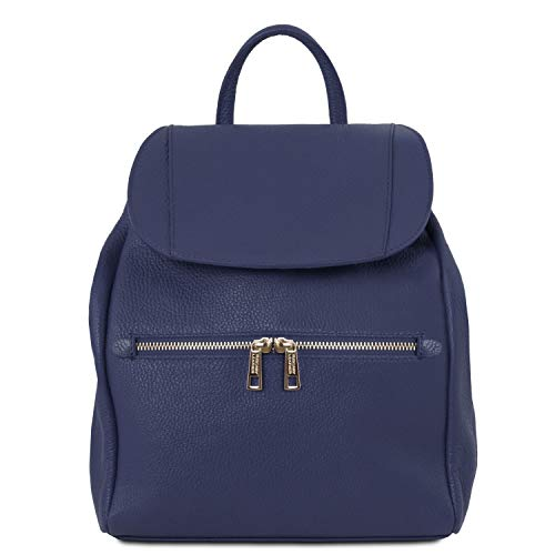 Tuscany Leather TLBag Zaino donna in pelle morbida Blu scuro