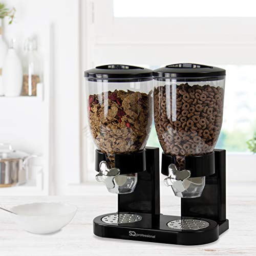 SQ Professional Double Cereal Dispenser Dry Food White/Black Plastic...