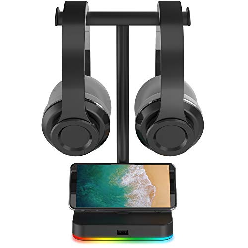 RGB Dual Headphone Stand with USB Hub KAFRI Desk Gaming Double Headset Holder Hanger Rack with 1 USB2.0 Extension Charging Port Extender Cord - Suitable for Gamer Desktop Table Game Earphone