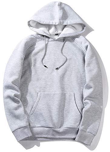 VSUSN Pullover mit Kapuze Fleece Hoodie Langarm Kapuzenpullover Sweatshirt mit Känguru Taschen Sweater Sweatjacke Hoody Kapuzenjacke für Herren und Damen(Grau,L)