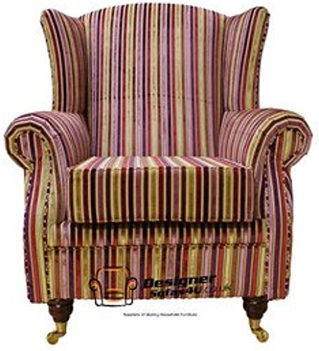 Kings Designer Stuhl Kamin High Back Sessel Stripe