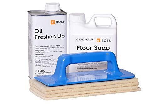 Boen Parkett - Boen Oil Freshen up - Farblos 1lt - 1xPadhalter, 4xWollpad, Boen Floor Soap 1lt.