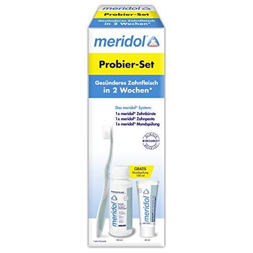 meridol Probier Set: Zahnbürste + Zahnpasta, 20 ml + Mundspülung, 100 ml