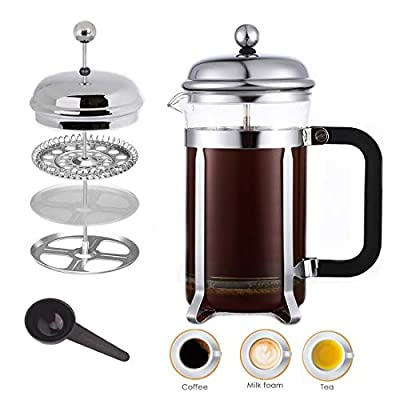 French Press Coffee Tea Maker Loose Milk Frother Set Triple Filters Plunger Stainless Steel Heat Resistant Borosilicate Glass (21 OZ)