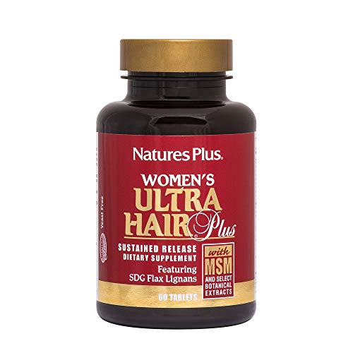 NaturesPlus Women's Ultra Hair Plus, Sustained Release - 60 Tablets - All-Natural Hair Growth Supplement - with Biotin - Promotes Healthy Hair, Skin & Nails - Gluten-Free - 30 Servings