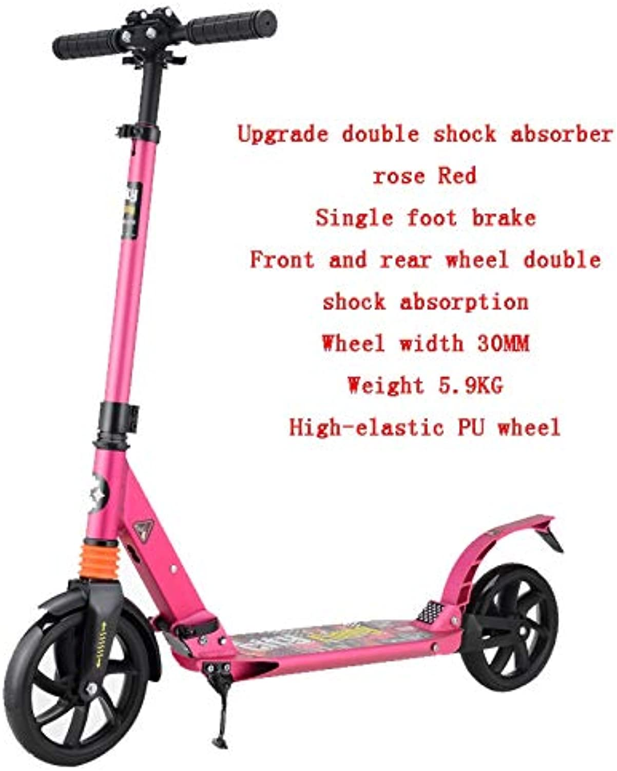 YUMEIGE Kick Scooters Kick Scooter for Adult Teens Adjustable Aluminium Alloy Commuter Scooter Foldable Big Wheels Smooth Fast Ride Available (color   Upgrade Double Shock Absorber Red)