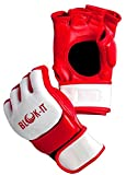 Blok-iT: Guantes de MMA para Artes Marciales Mixtas Sparring, Grappling, and Training (Blanco y Rojo, L)