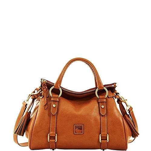 "Rich supple Florentine leather Two inside pockets, one inside zip pocket, cell phone pocket, inside key hook Handle drop length 4.5"", detachable strap drop length 19"" Lined, feet, zip closure Approximate measurements: 13"" (L) x 8"" (H) x 5.75"" (W)"