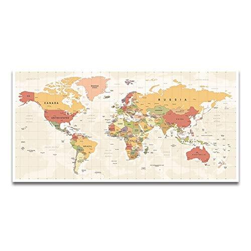 Mapa del Mundo Decorativo, Lienzo Prints Imágenes a Foto Impreso en Lienzo Arte de la Pared para decoración de oficina-50x100 cm-No Frame