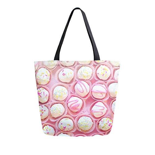 RURUTONG Dessert-Tasche aus Segeltuch, Großpackung für Lebensmittel, große Schultertasche, Strandtasche, wiederverwendbare Handtasche, Mehrzweck-Einkaufstasche für Outdoor-Kuchen 2011775